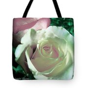 Pastel Pink And White Rose Tote Bag