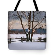 Pastoral View Of A Farm Covered In Snow Tote Bag