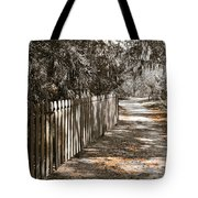 Path Along The Fence Tote Bag