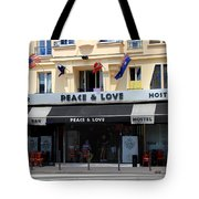 Peace And Love Hostel Tote Bag