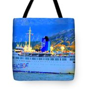 Peace Boat Along South America Coastline Tote Bag