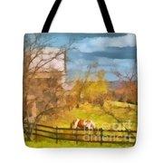 Peaceful Farm In Autumn Tote Bag