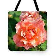 Peach And Yellow Ruffled Tote Bag