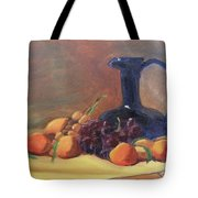 Peaches And Blue Pitcher Tote Bag by Lilibeth Andre