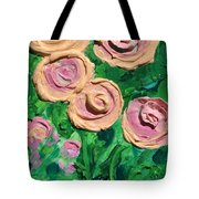 Peachy Roses Taking Form Tote Bag by Ruth Collis