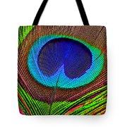 Peacock Feather Close Up Tote Bag by Garry Gay