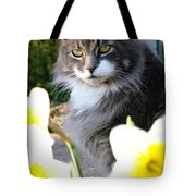 Peanut The Cat And Jonquils Tote Bag