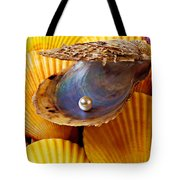 Pearl In Oyster Shell Tote Bag