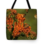 Pearly Crescentpot Butterflies Landing On Butterfly Milkweed Tote Bag