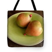 Pears On Heart Plate Tote Bag