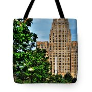 Pedestrian View Of City Hall Vert Tote Bag