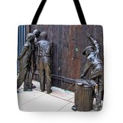 Peeking At Baseball Game Sculpture Tote Bag