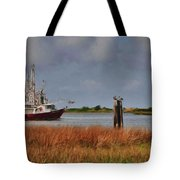 Pelican And The Red Shrimpboat Tote Bag