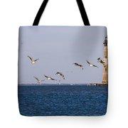Pelicans And Morris Island Light 1 Tote Bag