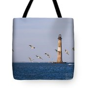 Pelicans And Morris Island Light 2 Tote Bag