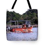 Pelicans Following Boat Tote Bag