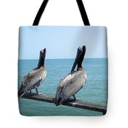 Pelicans On The Pier Tote Bag
