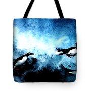 Penquin Joy Play  In Huge Waves Tote Bag