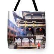 People At The Buddhist Temple Tote Bag
