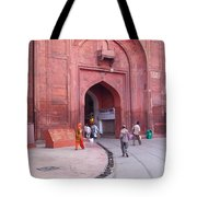 People Entering The Entrance Gate To The Red Colored Red Fort In New Delhi In India Tote Bag