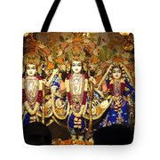 People Offering Prayers At The Iskcon Temple In Delhi Tote Bag