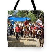 People On Horseback And On Foot Making The Climb To The Vaishno Devi Shrine In India Tote Bag