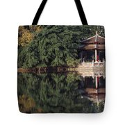 People Resting Under Pagoda On Hoan Tote Bag