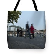 People Walk Along The Rhine River Tote Bag