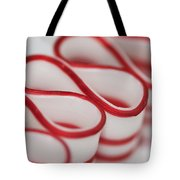 Peppermint Christmas Ribbons Tote Bag