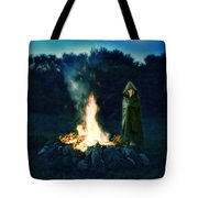 Person Standing By A Bonfire In The Moonlight Tote Bag