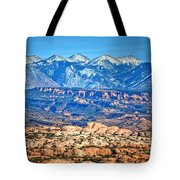 Petrified Dunes And La Sal Mountains Tote Bag
