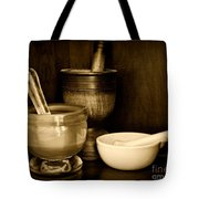 Pharmacy - Mortars And Pestles - Black And White Tote Bag