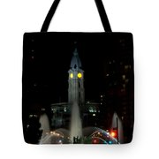 Philadelphia City Hall And Swann Fountain At Night Tote Bag