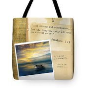 Photo Of Boat On The Sea With Bible Verse Tote Bag