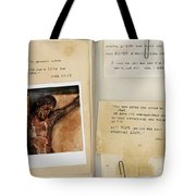 Photo Of Crucifix With Bible Verses. Tote Bag