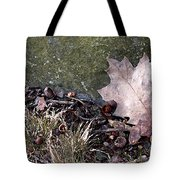 Photo Watercolour Leaf Against Rock Tote Bag