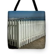 Picket Fence By The Cabrillo National Monument Lighthouse In San Diego Tote Bag
