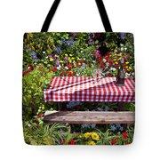 Picnic Table Among The Flowers Tote Bag