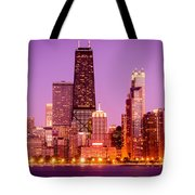 Picture Of Chicago Skyline By Night Tote Bag