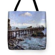 Pier Along Rocky Shore Tote Bag