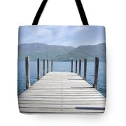 Pier And Snow-capped Mountain Tote Bag