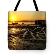 Pier At Sunset Tote Bag by Carlos Caetano