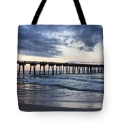 Pier In The Evening Tote Bag by Sandy Keeton