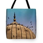 Pigeons Around Dome Of The Jama Masjid In Delhi In India Tote Bag