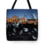 Pigeons Flutter Above The Plaza De Tote Bag
