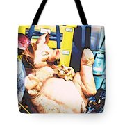 Piggy And Piglets In Store Window Tote Bag