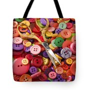 Pile Of Buttons With Scissors  Tote Bag