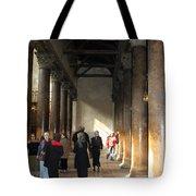 Pilgrims At Nativity Church In Bethlehem Tote Bag