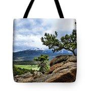 Pine Tree And Mountains Tote Bag