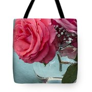 Pink And Aqua Roses Tote Bag